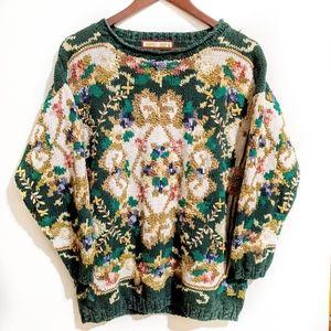 Funky Vintage Sweater Floral Multi Color Large